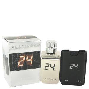 24 Platinum The Fragrance by ScentStory Eau De Toilette Spray + 0.8 oz Mini Pocket Spray 3.4 oz Men