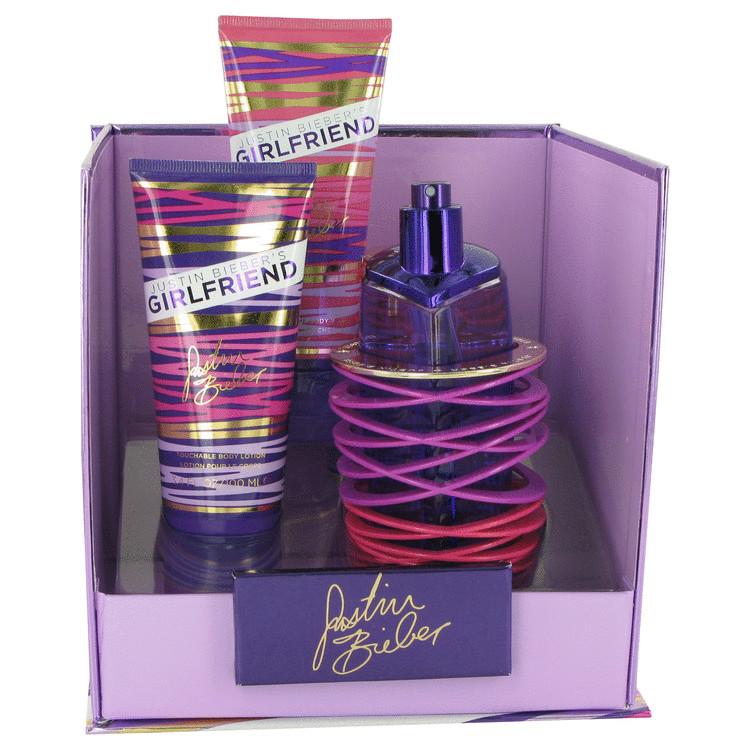 Girlfriend by Justin Bieber Gift Set -- 3.4 oz Eau De Parfum Spray + 3.4 oz Body Lotion + 3.4 oz Shower Gel Women