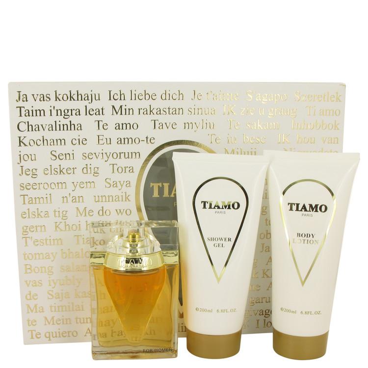 Tiamo by Parfum Blaze Gift Set -- 3.4 oz Eau De Parfum Spray + 6.8 oz Body Lotion + 6.8 oz Shower Gel Women