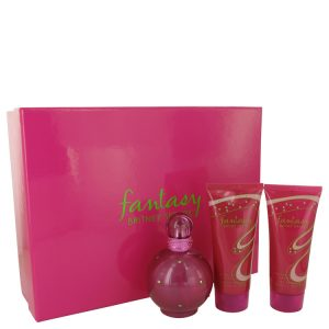Fantasy by Britney Spears Gift Set -- 3.3 oz Eau De Parfum Spray + 3.3 oz Body Souffle + 3.3 oz Shower Gel Women