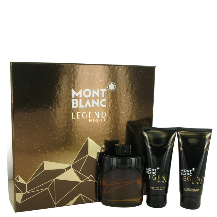 Montblanc Legend Night by Mont Blanc Gift Set -- 3.3 oz Eau De Parfum Spray + 3.3 oz After Shave Balm + 3.3 oz Shower Gel Men