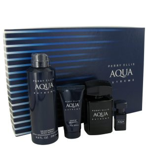 Perry Ellis Aqua Extreme by Perry Ellis Gift Set -- 3.4 oz Eau De Toilette Spray + .25 oz Mini EDT Spray + 6.8 oz Body Spray + 1.7 oz Shower Gel Men