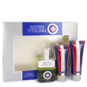 BRITISH STERLING by Dana Gift Set -- 2.5 oz Cologne Spray + 2.5 oz Body Wash + 2 oz After Shave Balm Men