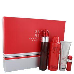 Perry Ellis 360 Red by Perry Ellis Gift Set -- 3.4 oz Eau De Toilette Spray + .25 oz Mini EDT Spray + 6.8 oz Body Spray + 3 oz Shower Gel Men