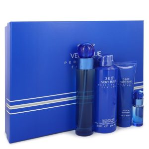 Perry Ellis 360 Very Blue by Perry Ellis Gift Set -- 3.4 oz Eau De Toilette Spray + .25 oz Mini EDT Spray + 3 oz Shower Gel + 6.8 oz Body Spray Men