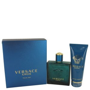 Versace Eros by Versace Gift Set -- 3.4 oz Eau De Toilette Spray + 3.4 oz Shower Gel Men