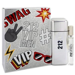 212 Vip by Carolina Herrera Gift Set -- 3.4 oz Eau De Toilette Spray + .34 oz Mini EDT Spray Men