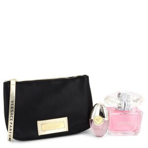 Bright Crystal by Versace Gift Set -- 3 oz Eau De Toilette Spray + 0.3 oz Mini EDT Spray + Black and Gold Pouch Women