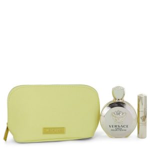 Versace Eros by Versace Gift Set -- 3.4 oz Eau De Parfum spray + 0.3 oz  Mini EDP Spray  In Versace Yellow Pouch Women