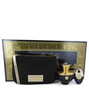 Versace Pour Femme Dylan Blue by Versace Gift Set -- 3.4 oz Eau De Parfum Spray + 0.3 oz Mini EDP Spray in Versace Black & Gold Pouch Women