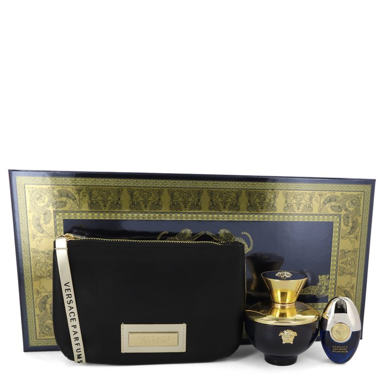 Versace Pour Femme Dylan Blue by Versace Gift Set -- 3.4 oz Eau De Parfum Spray + 0.3 oz Mini EDP Spray in Versace Black & Gold Pouch Women