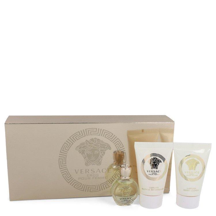 Versace Eros by Versace Gift Set -- .17 oz Mini EDP + .8 oz Shower Gel + .8 oz Body Lotion Women