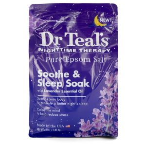 Dr Teal's Nighttime Therapy Pure Epsom Salt by Dr Teal's Sooth & Sleep Soak with Lavender Essential Oil 4 pounds Men