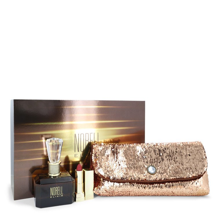 Norell Elixir by Norell Gift Set -- 3.4 oz Eau De Parfum Spray + .12 oz Lipstick + Free Evening Bag Women