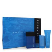 Perry Ellis Pure Blue by Perry Ellis Gift Set -- 3.4 oz Eau De Toilette Spray + 3 oz Shower Gel + 2.75 oz Deodorant Stick + .25 oz Travel EDT Spray Men