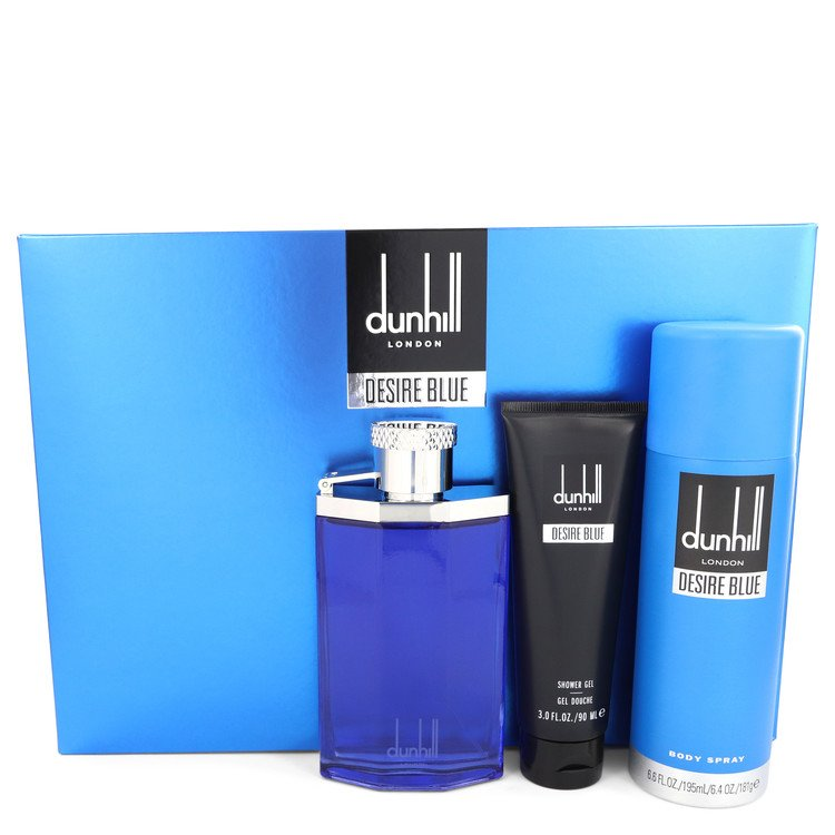 Desire Blue by Alfred Dunhill Gift Set -- 3.4 oz Eau De Toilette Spray + 3 oz Shower Gel + 6.4 oz Body Spray Men