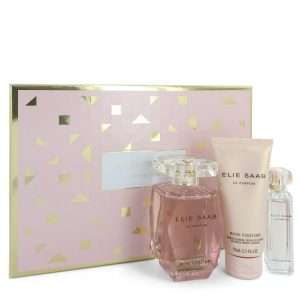 Le Parfum Elie Saab Rose Couture by Elie Saab Gift Set -- 3 oz Eau De Toilette Spray + 0.33 Mini EDT Spray + 2.5 oz Body Lotion Women