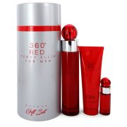 Perry Ellis 360 Red by Perry Ellis Gift Set -- 3.4 oz Eau De Toilette Spray + .25 oz Mini EDT Spray + 3 oz Shower Gel in Tube Box Men